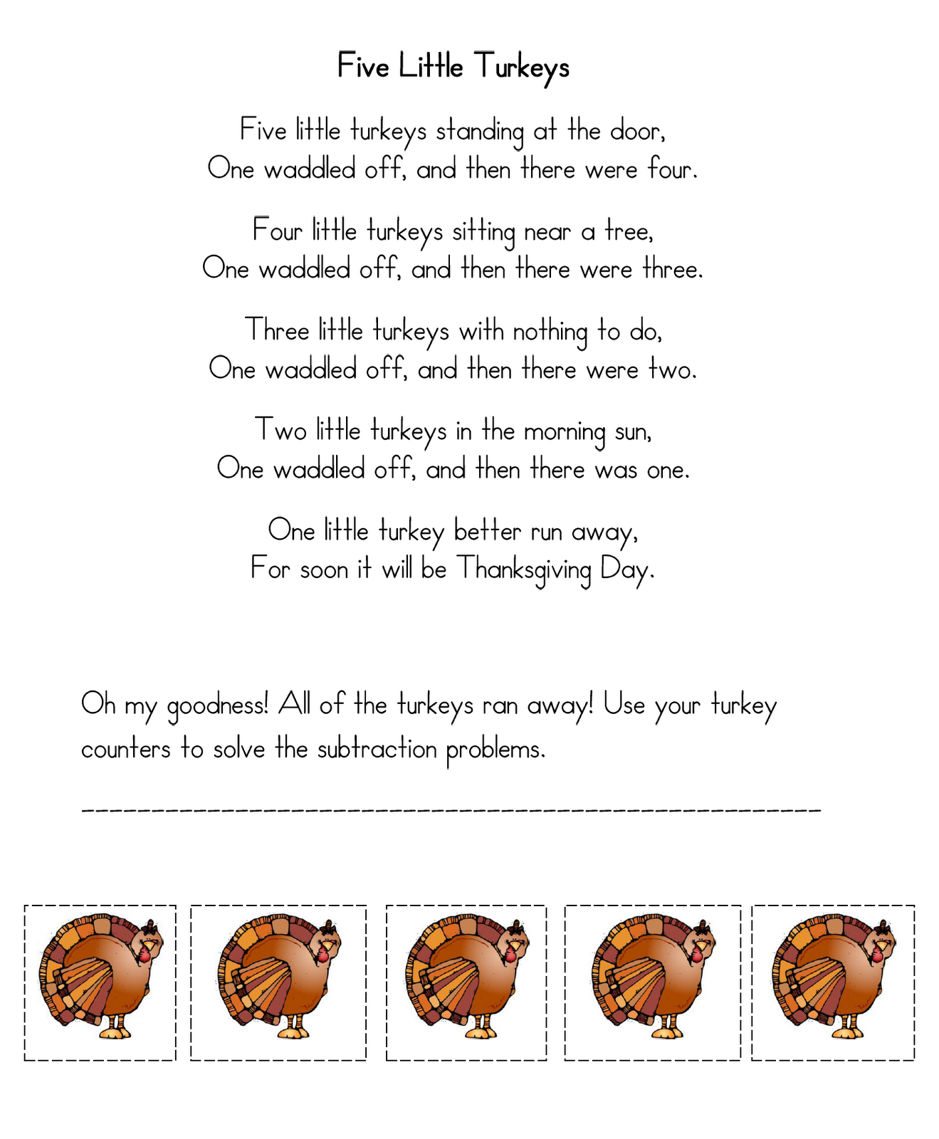 Thanksgiving Five Little Turkeys Poem