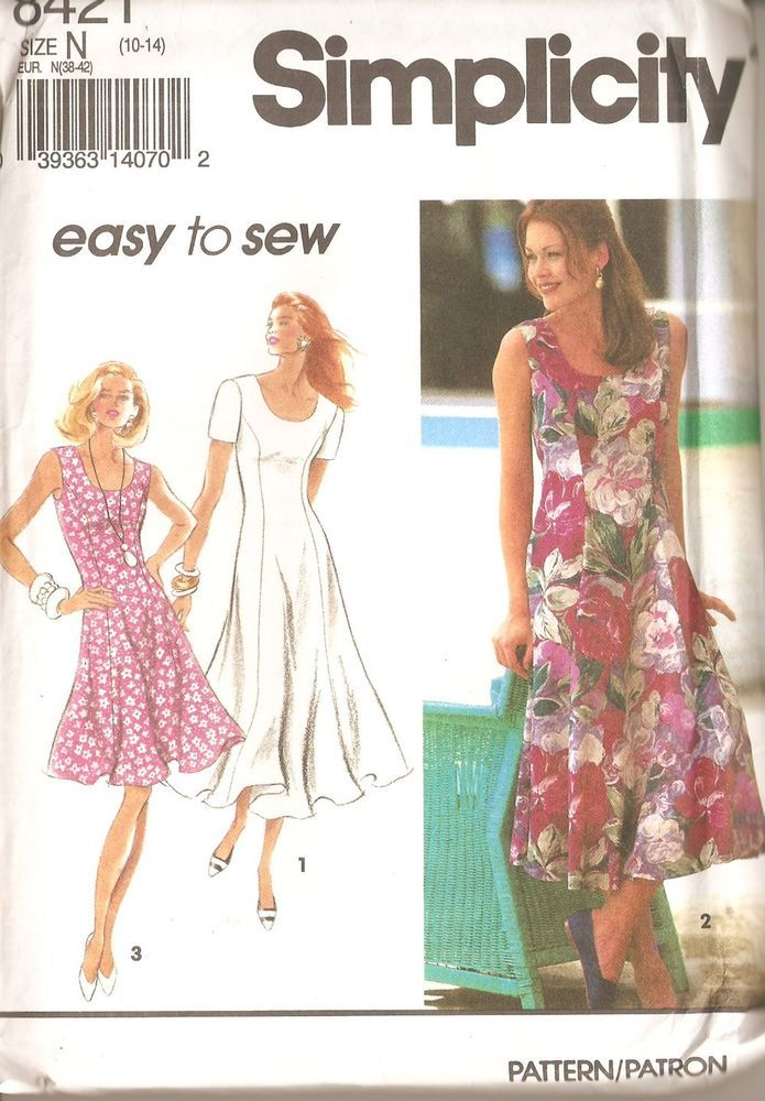 Misses Sizes 10-14 Easy Dress Sewing Pattern 3 Variations Simplicity ...