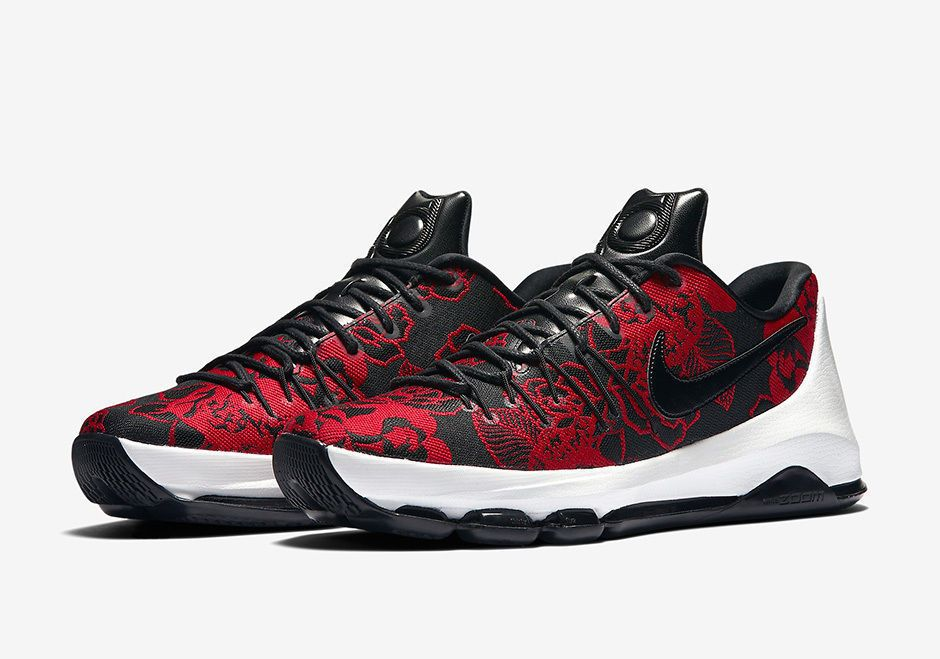 e495f757af5b3b Nike KD 8 EXT Mother s Day Mens Basketball Shoes Black Red Floral 806393  004  Nike  BasketballShoes