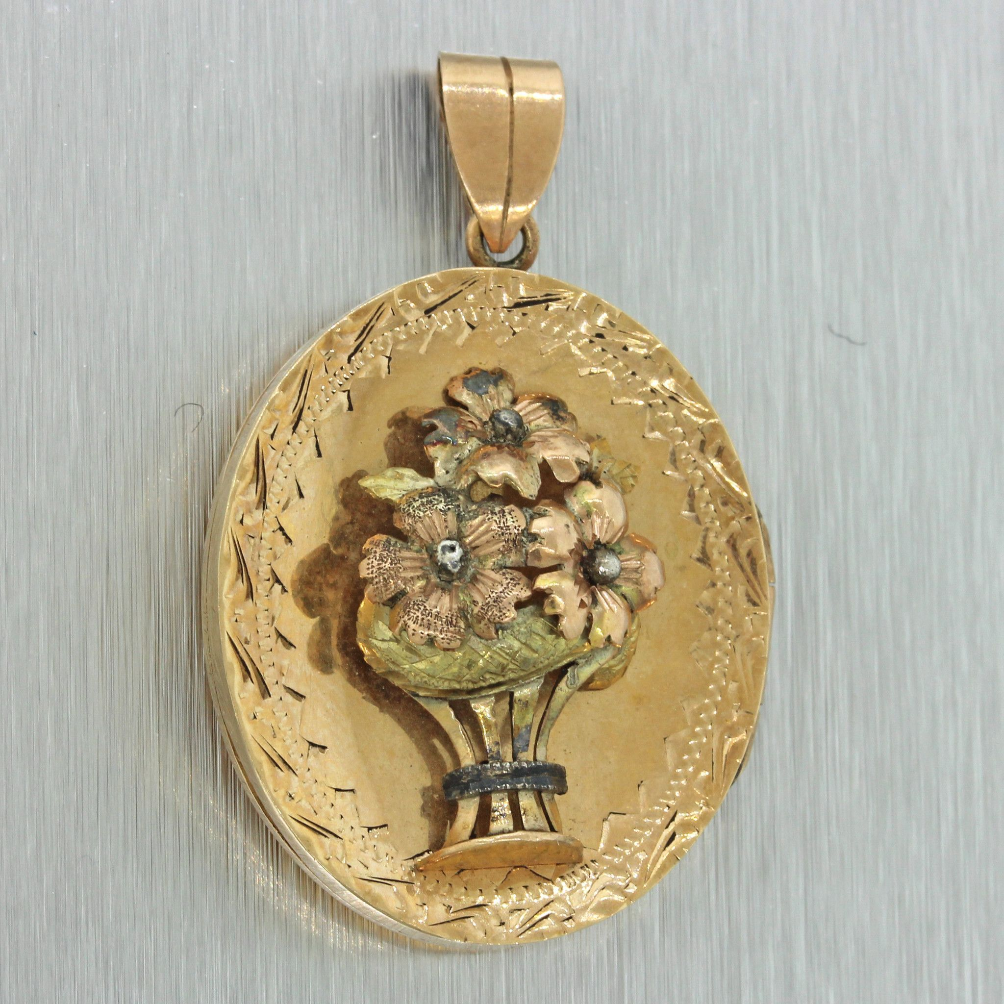 S antique victorian k solid yellow green rose gold flower