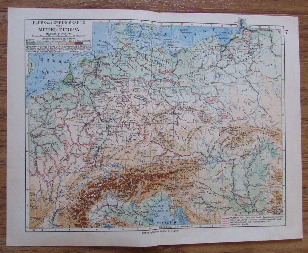 Details Zu Fluss Und Gebirgskarte Von Mitteleuropa Alte