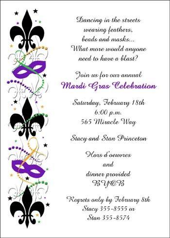 Party Invitations with Mardi Gras Symbol