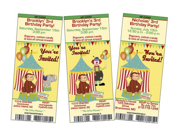 admit one, ticket style curious george goes to circus birthday, Party invitations