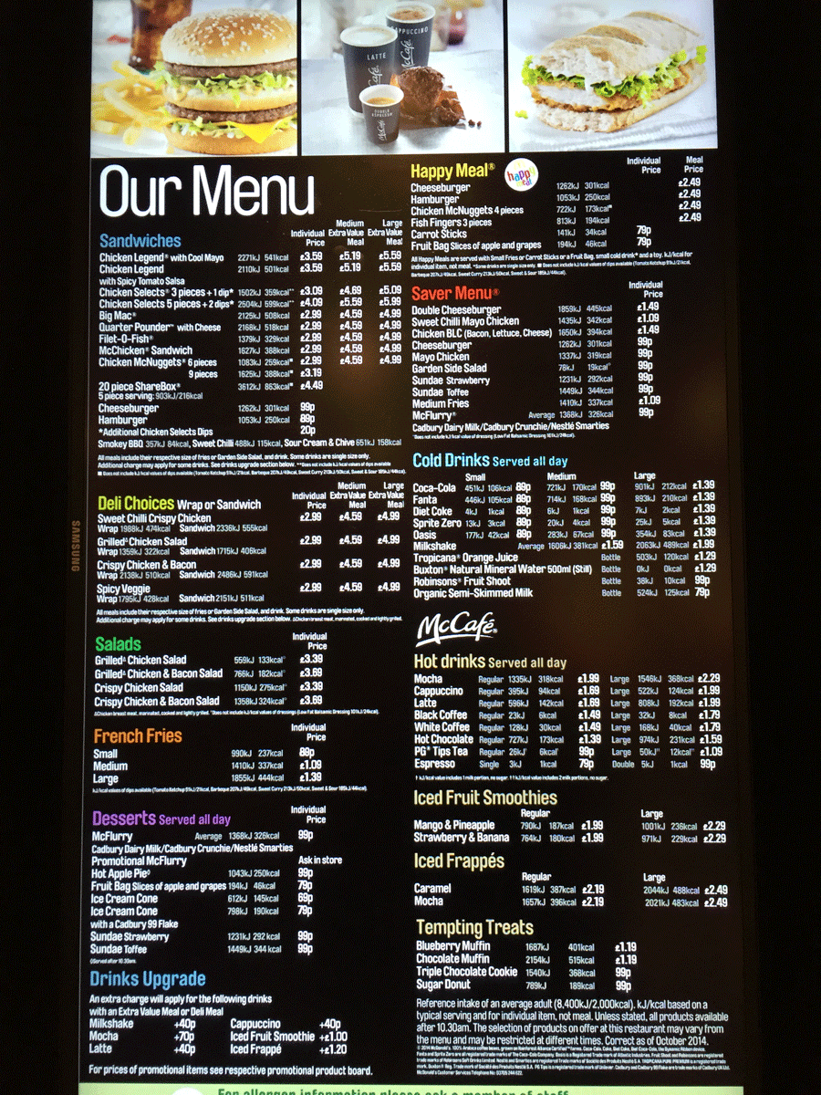 searching for mcdonalds prices the uk menu prices can be found on