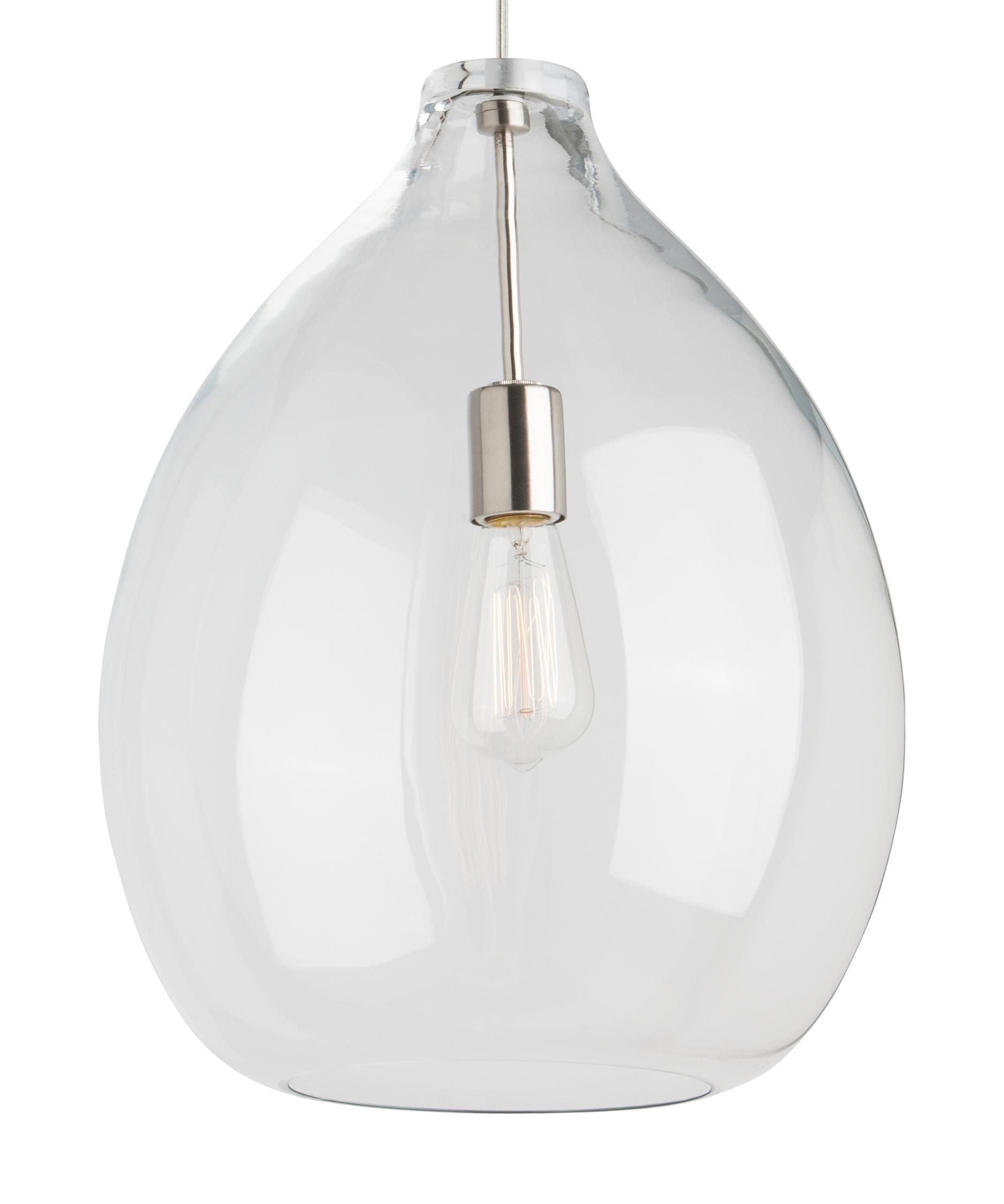Tech lighting 700tdqnt quinton 16 inch large pendant height 2030 tech lighting quinton wide single light pendant clear shade with satin nickel finish indoor lighting pendants recessed lighting trims aloadofball Image collections