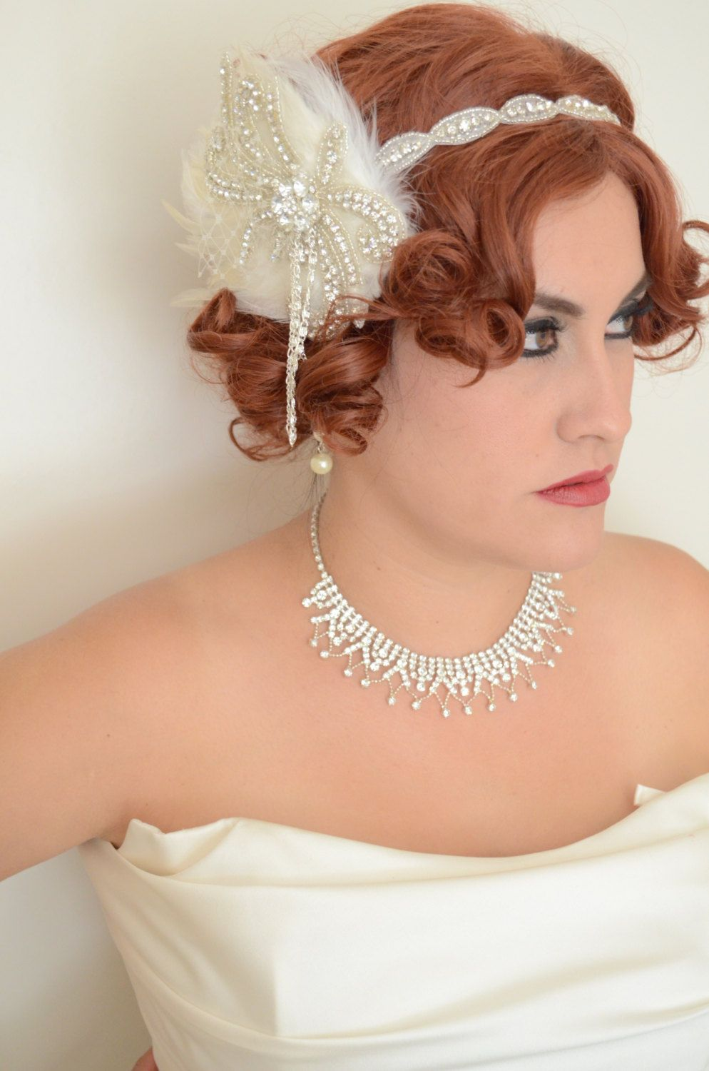 CLEARANCEOne+of+a+KINDArt+deco1920's+headbandLight+by+yanethandco,+$75.00