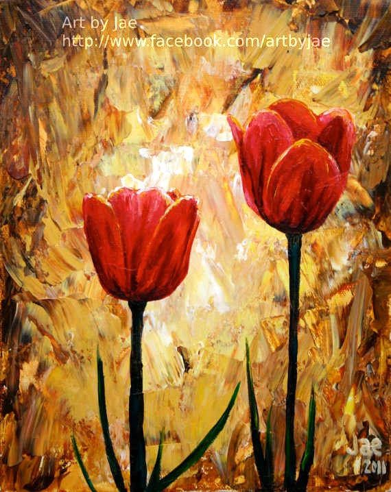 Red Tulips Print Small Wall Art Giclee Print Red Flowers 8x10 | Red ...