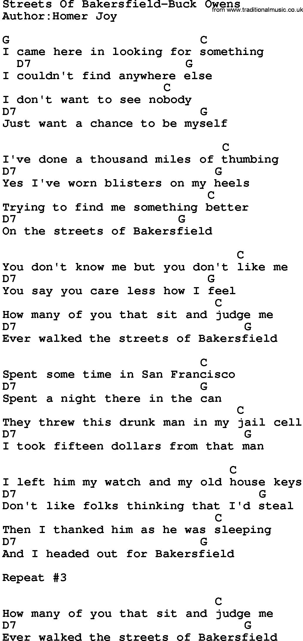 Buck owens song lyrics country music song streets of country musicstreets of bakersfield buck owens lyrics and chords hexwebz Gallery