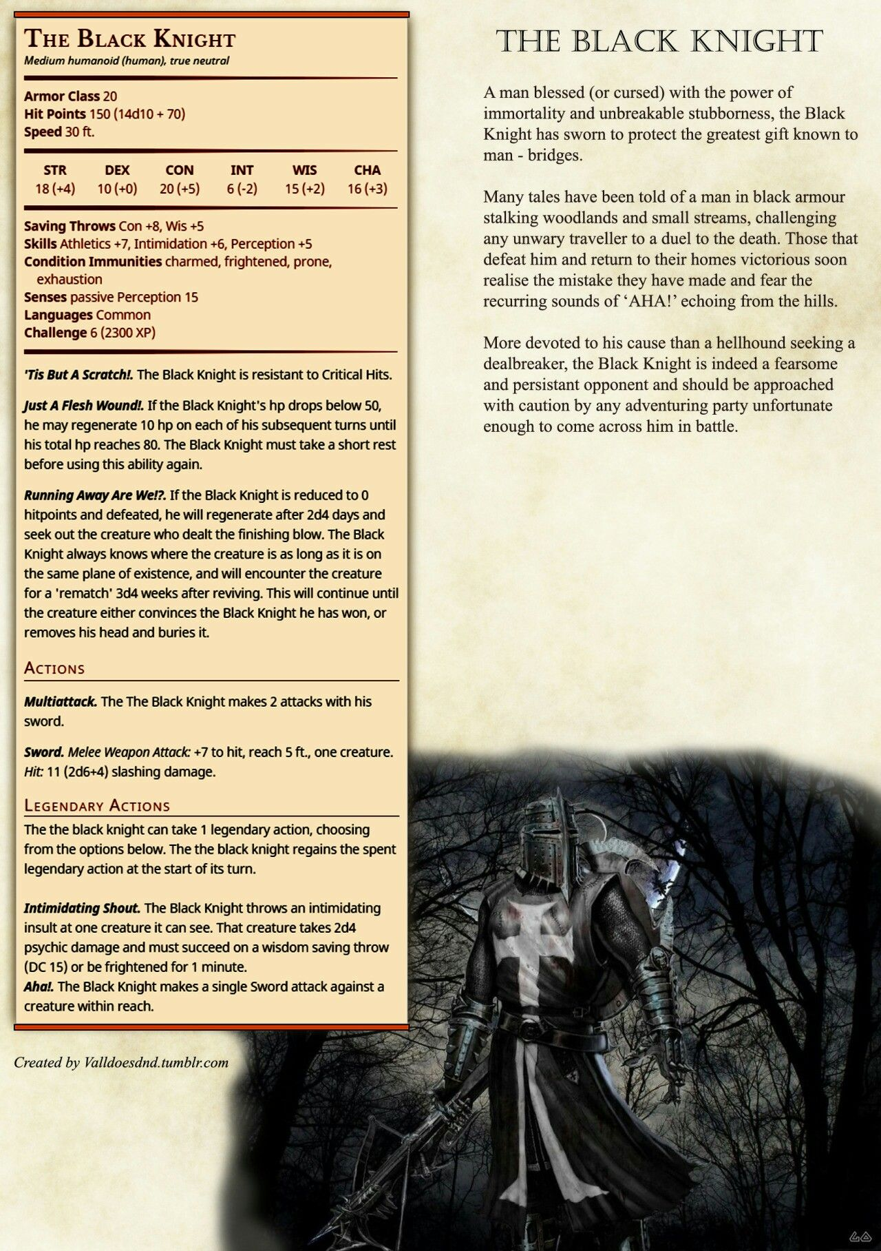 The Black Knight | Dnd home brew monsters | Dnd 5e homebrew