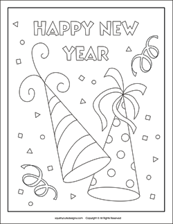 New Years coloring pages  New Years eve coloring sheets  party