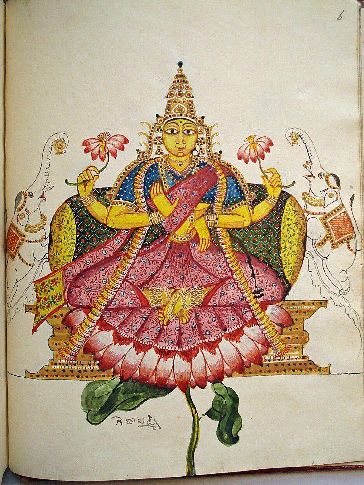Album leaf. Deity. Lak?mi as Gaja-Lak?mi + Telugu inscriptions. Painted on paper (European).