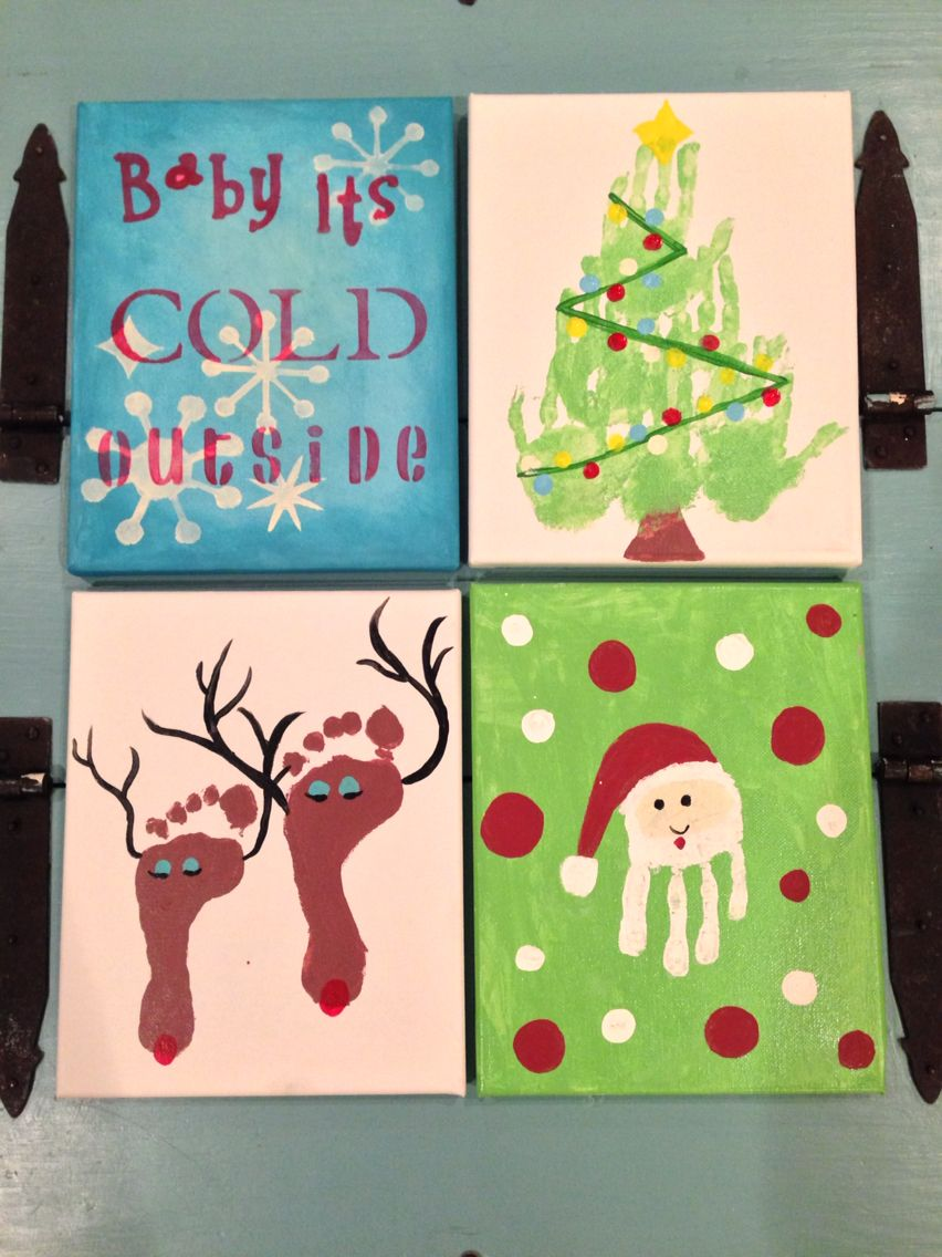 Quick And Easy Christmas Crafts With The Kids 8x10 Canvas Acrylic Paints Messy Hands Diy Arts