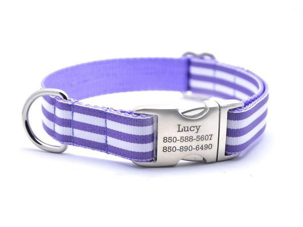 Cabana Stripe Dog Collar with Laser Engraved Personalized Buckle - LAV – Bark Label