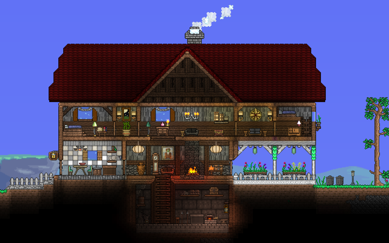 Sheila mansion wall designs terraria starbound for Best house designs games
