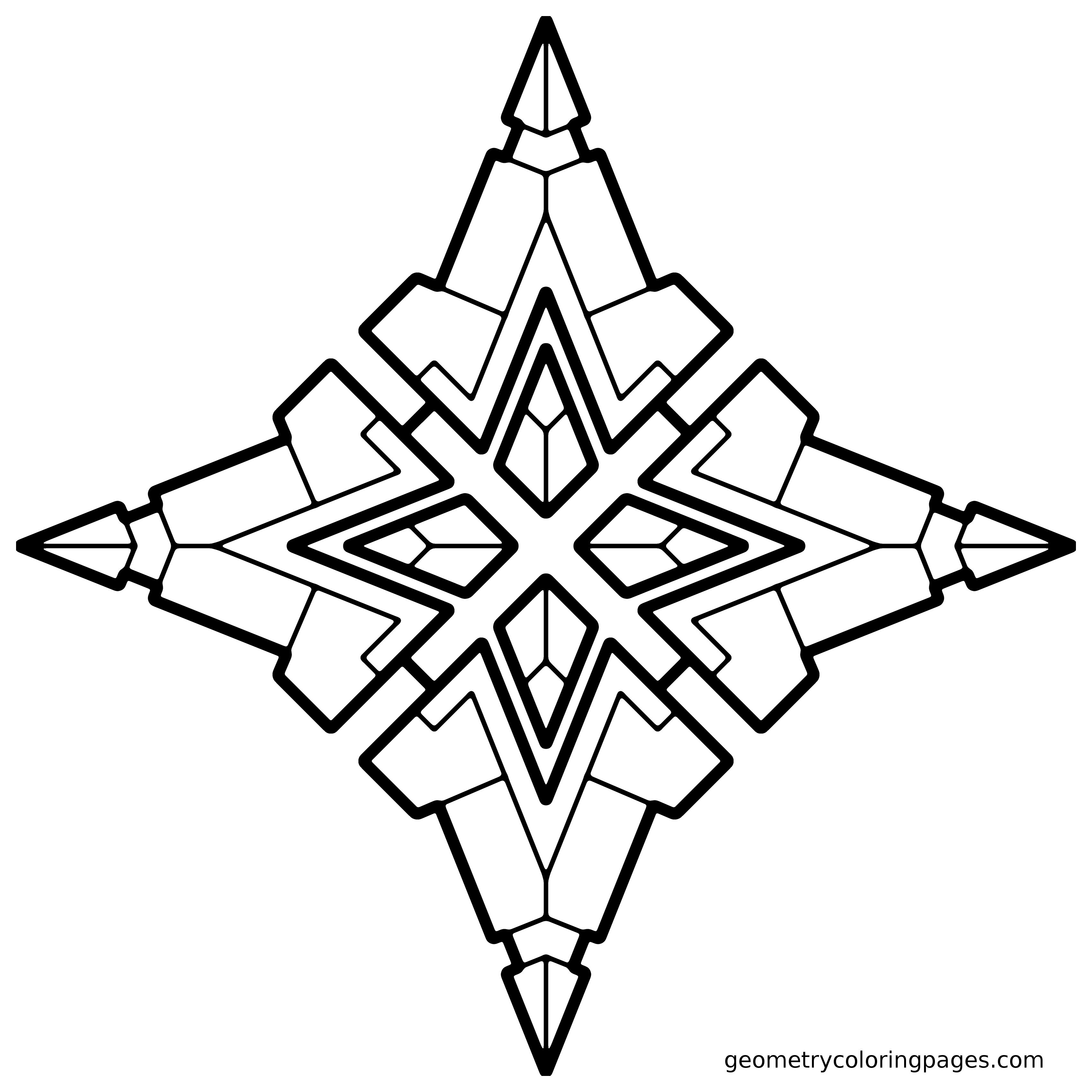 Geometry coloring page quad star adult coloring pages Geometric coloring books for adults