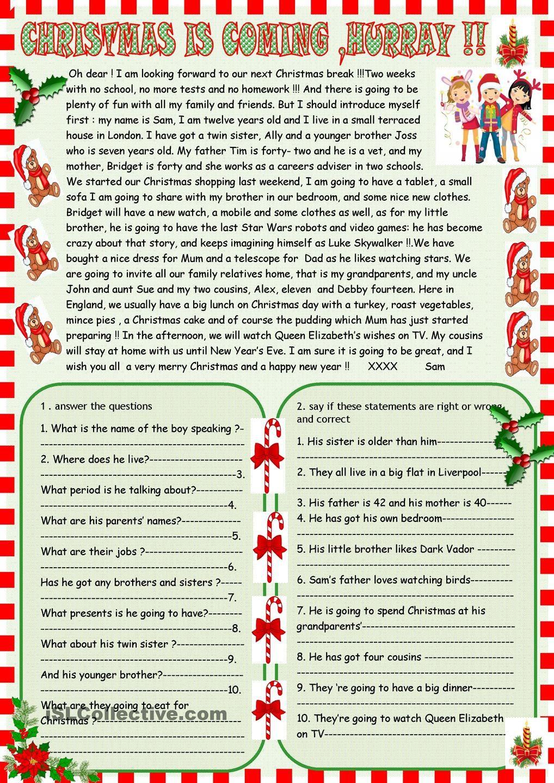 Worksheets Christmas Comprehension Worksheets christmas is coming reading comprehension angielski pinterest worksheet free esl printable worksheets made by teachers