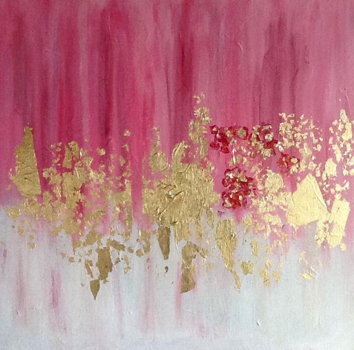 Peinture Abstraite De Rose Et D Or Acrylique Avec Application