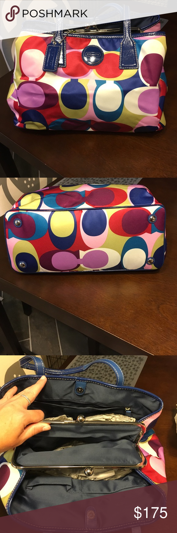 Large Authentic Coach Purse New without tags and in excellent condition large authentic multicolored coach purse. Features three compartments on the inside all of which have snap closures. Coach Bags Totes