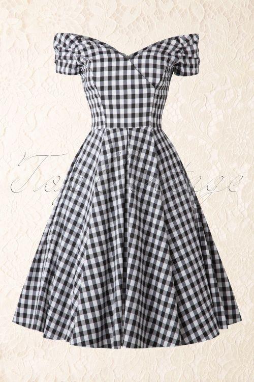 f70aae078c Barato Mulheres branco preto xadrez do vintage 50 s Audrey Hepburn barco  pesco ccedil o ombro sopro manga balan ccedil o midi vestido plus size  vestido