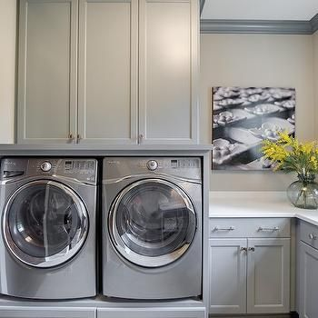 Built In Washer Dryer Platform Contemporary Laundry Room Stonewood Llc