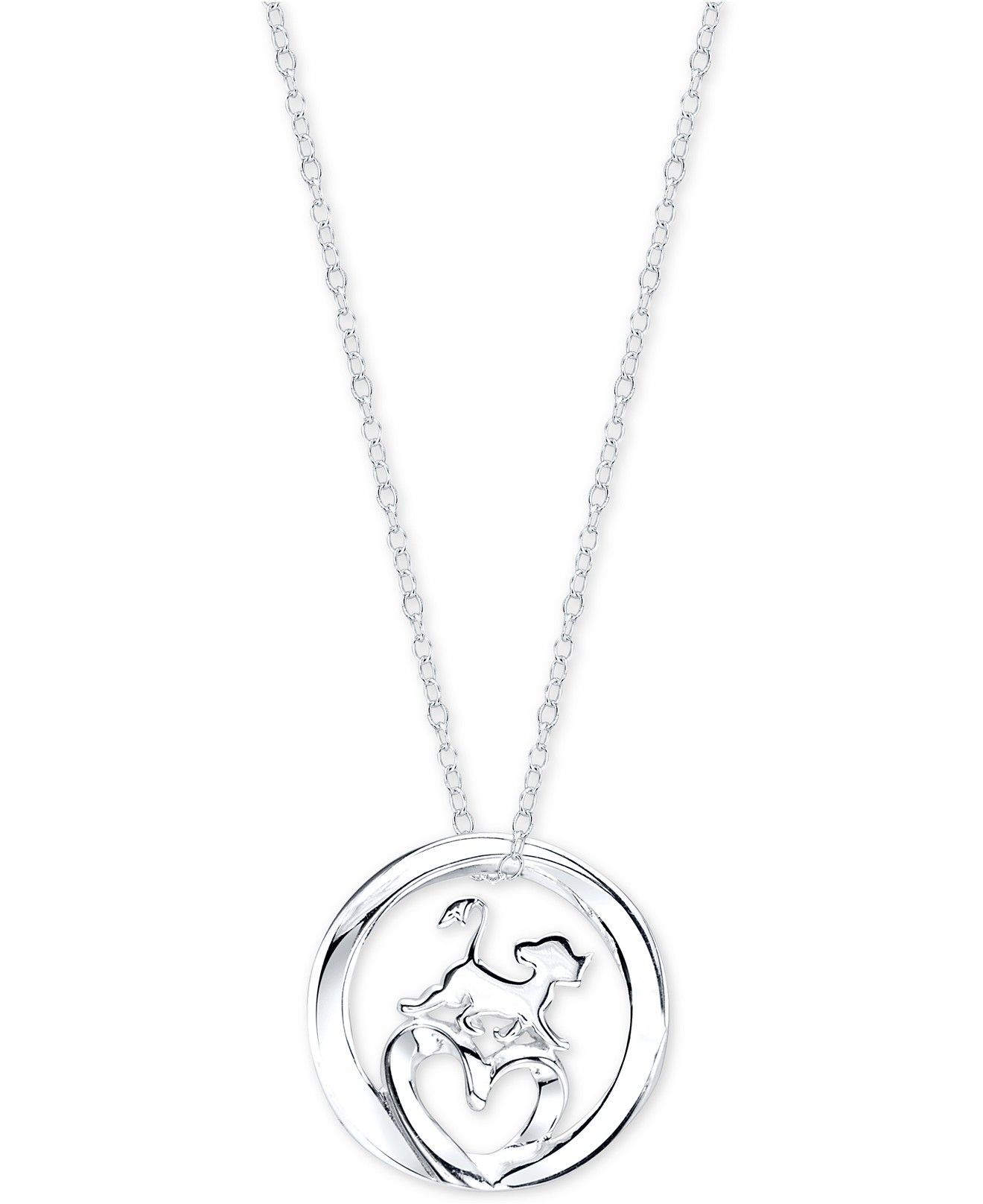 Disney Lion King Simba Pendant Necklace in Sterling Silver ...
