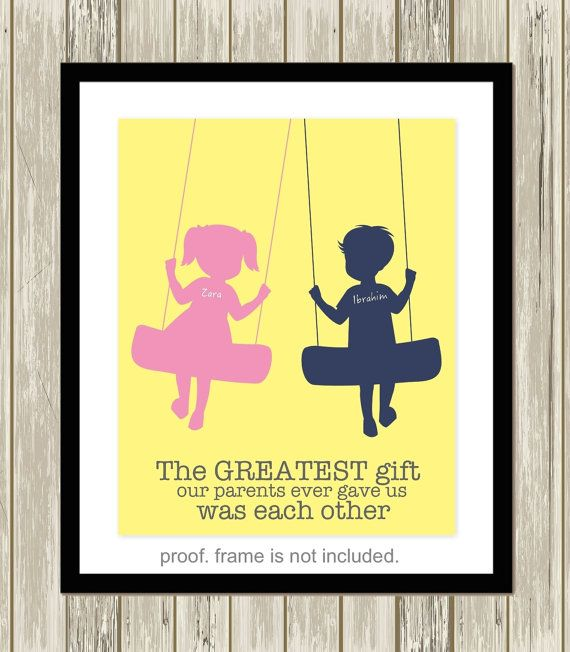 Brother and sister wall art siblings art by PicabooArtStudio ...