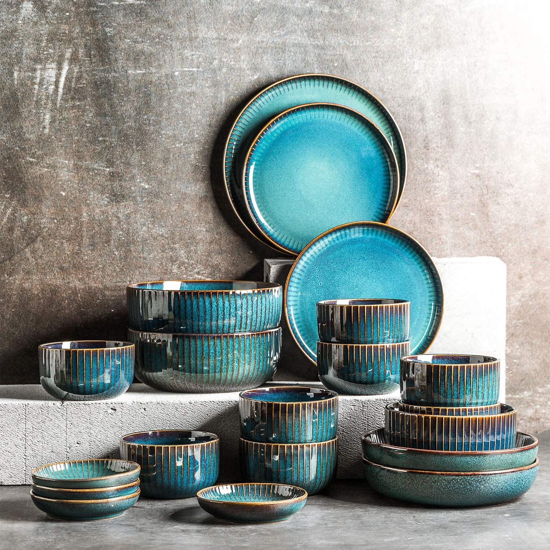 Hoteck 28 Teilig Teller Set Aus Keramik Geschirr Set Porzellan Tafelservice Mit Schusseln Speiseteller Dipschalen Essst Geschirrset Teller Set Tafelservice