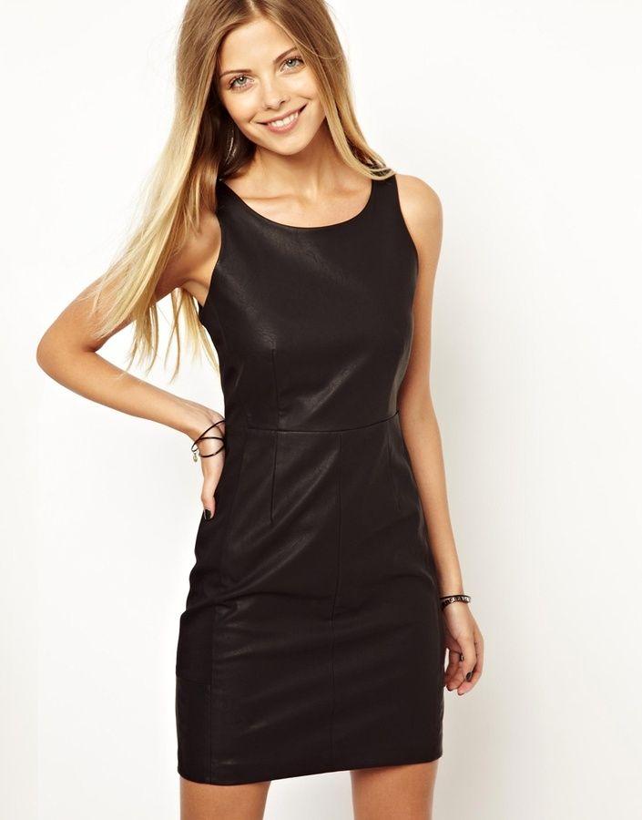 schwarzes Lederkleid von Vero Moda   Mode, Kleider und ...