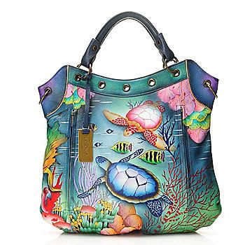 Anuschka Hand-Painted Leather Grommet Detailed Satchel w/ Strap