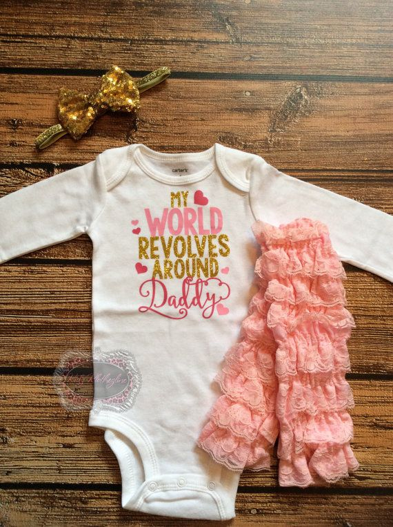 Fathers Day Onesie Set My World Revolves Around Daddy Baby Girl ... d901400fbe2c