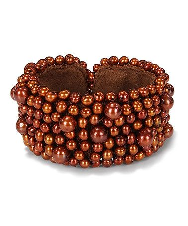 Take a look at this Chocolate Brown Pearl Bangle by Delmar on #zulily today!