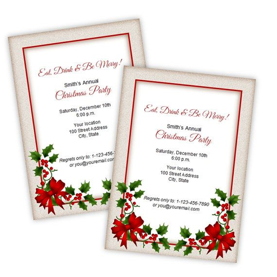 Holly Christmas - Holiday Party Invitations - DIY Printable Template