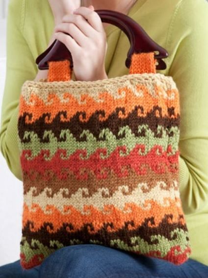 Free Knitting Pattern for Curling Wave Striped Bag - Lisa Gentry's easy striped purse is made with five colors of yarn.