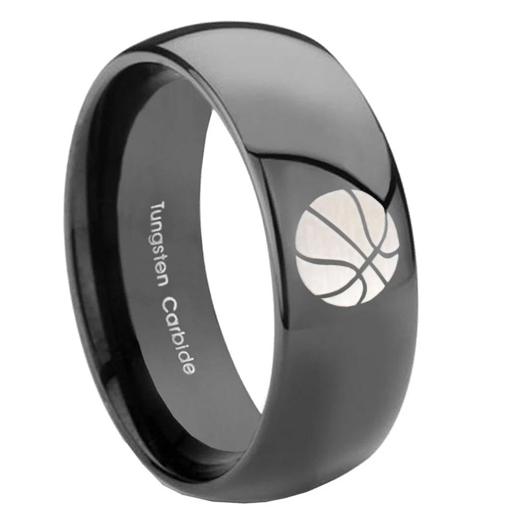 8mm Basketball Dome Black Tungsten Carbide Mens Wedding