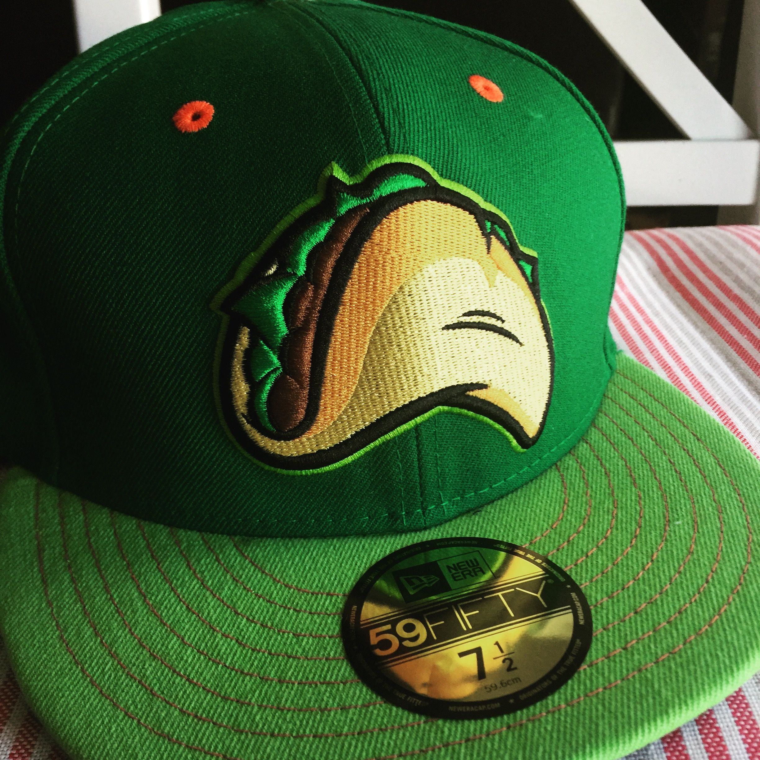 8e4be7349 Fresno Grizzlies Taco Tuesdays lime green variant hat | Minor League ...