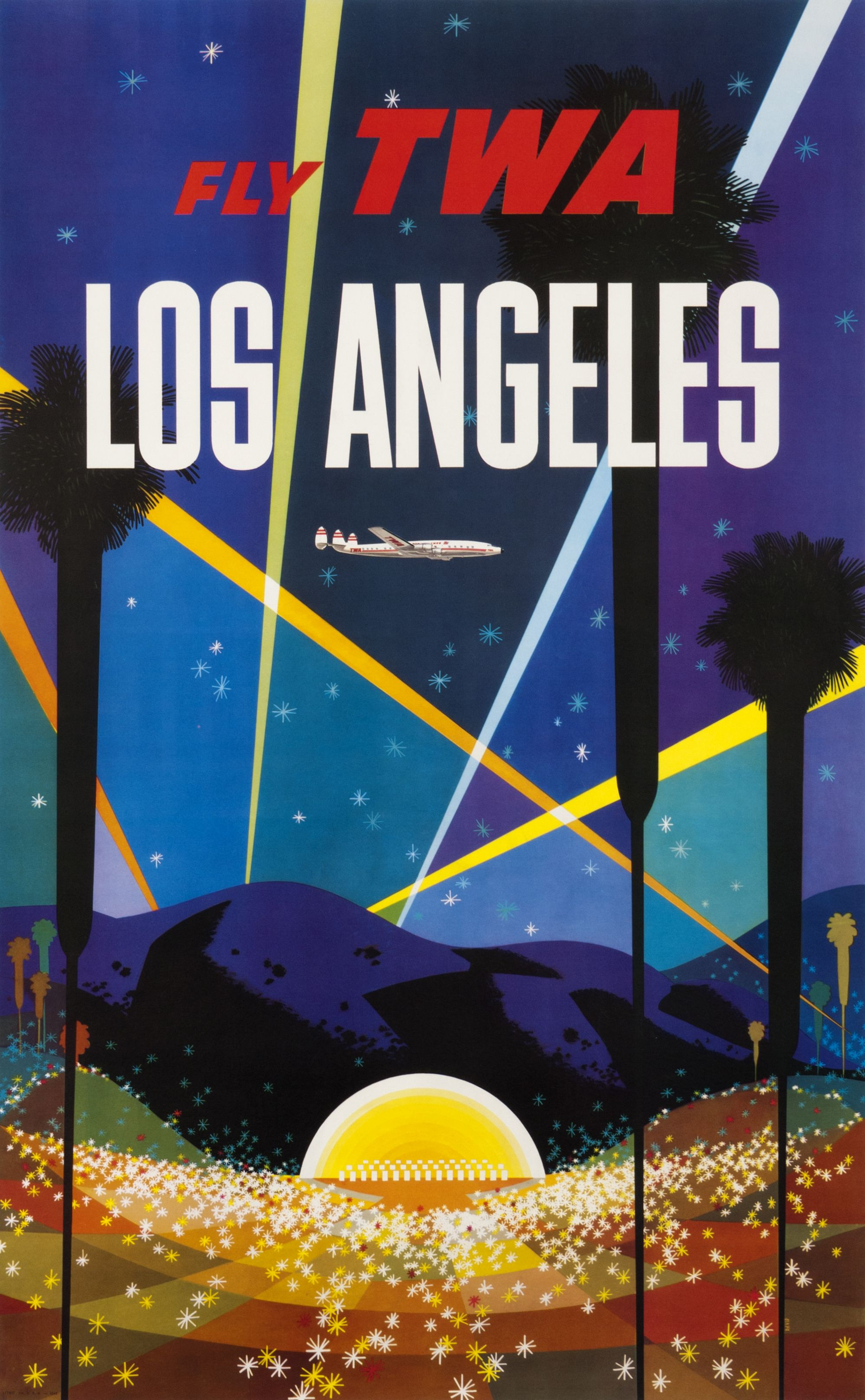 VINTAGE LOS ANGELES TWA TRAVEL A3 POSTER PRINT