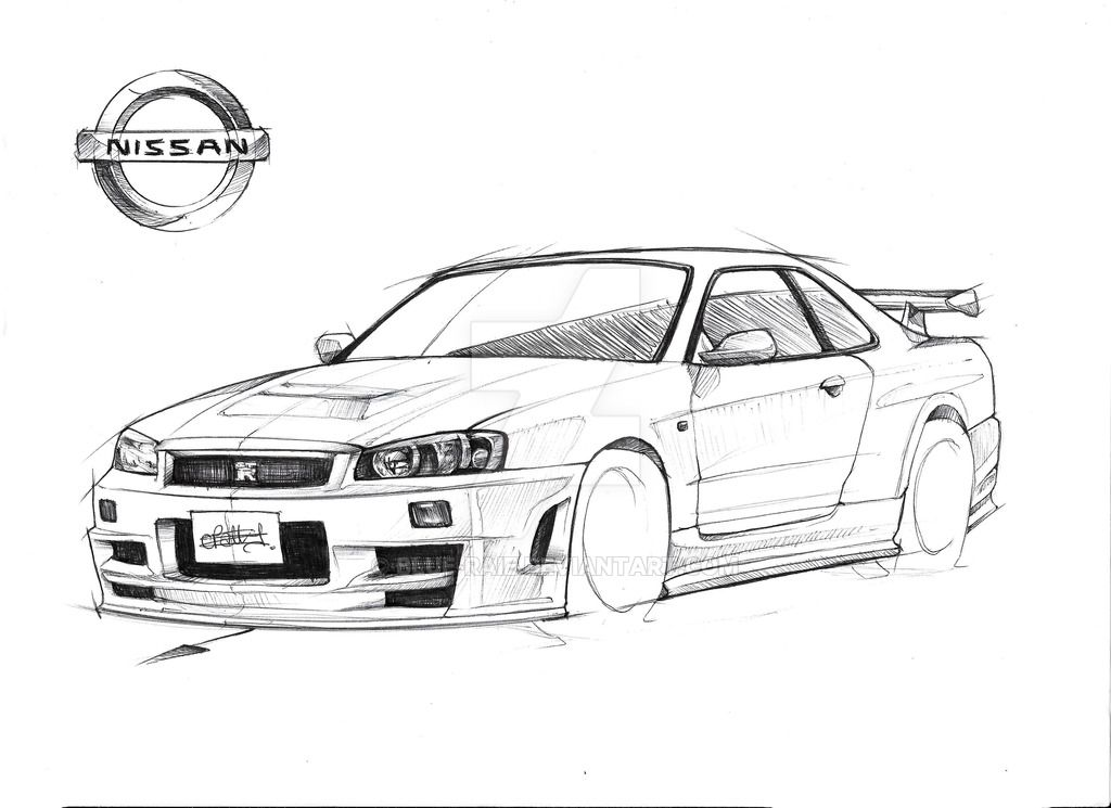 Nissan R-34 GT-R Nismo Z-tune Skyline By Blue-Raie | Drawing U0026 Painting | Pinterest | Nissan ...