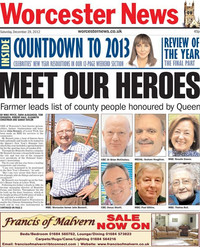 Lots Of Local Faces On This New Year S Honours Front Page From The Worcester News Newspaper Front Pages Elizabeth First New Years Resolution