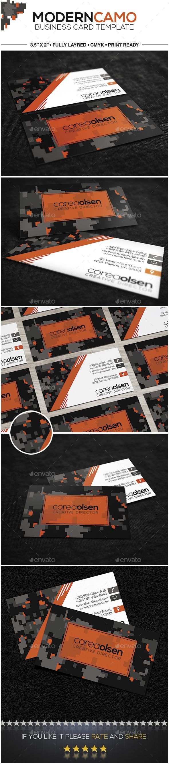 Modern Camouflage Business Card | Business cards, Card templates and ...