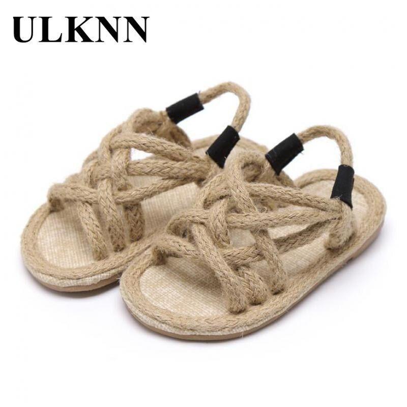 Ulknn Summer Kids Hemp Rope Sandals For Girls Beach Shoes Fashion Baby Rome Sandals Soft Non Slip Children Light Flat Sandals In 2020 Childrens Shoes Rope Sandals Girls Sandals