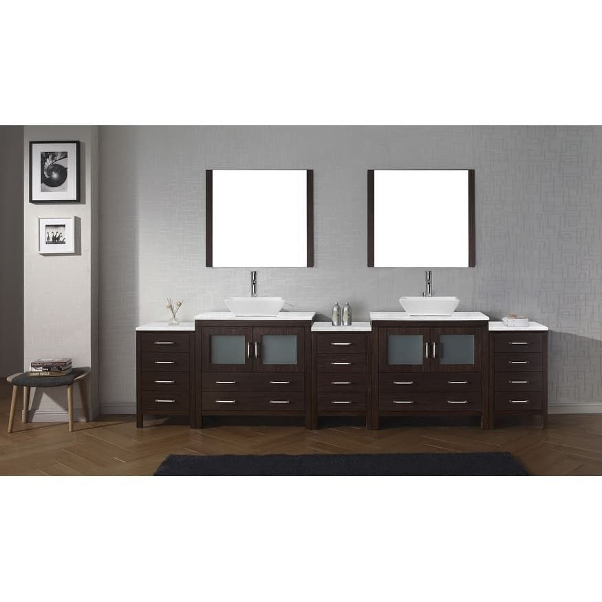 Create Photo Gallery For Website Virtu USA Dior Carrara White Marble inch Double Bathroom Vanity Set with Faucet Options