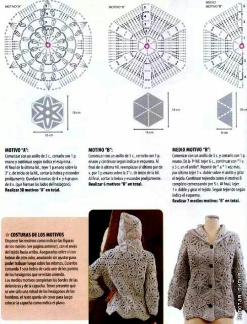 Patrón saco de grannys | női bluzok | Pinterest | Crochet granny and ...