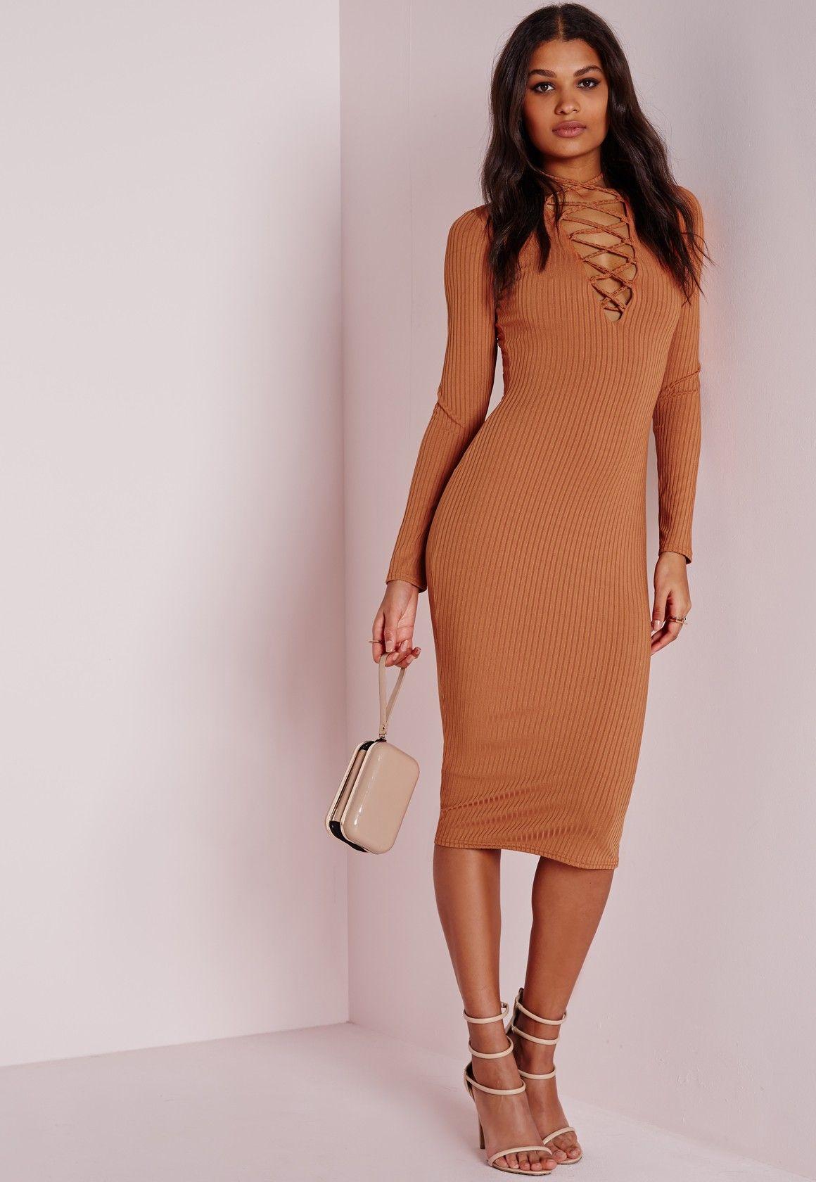 Missguided Ribbed Long Sleeve Lace Up Midi Dress Tan Trending Dresses Dresses Online Shop Dresses [ 1680 x 1160 Pixel ]