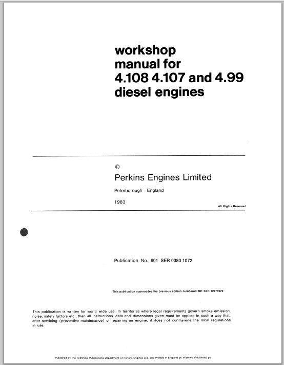 Perkins 4 154 Diesel Engine Workshop Service & Parts Repair