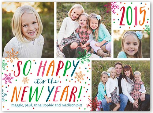 Colorful Snowfall 6x8 New Year\u0027s Card Holiday Cards Shutterfly