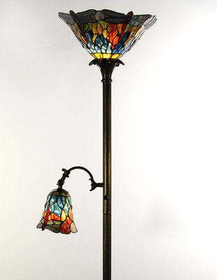 Tiffany style standard uplighter floor lamp with side reading lamp tiffany style standard uplighter floor lamp with side reading lamp ebay aloadofball Images