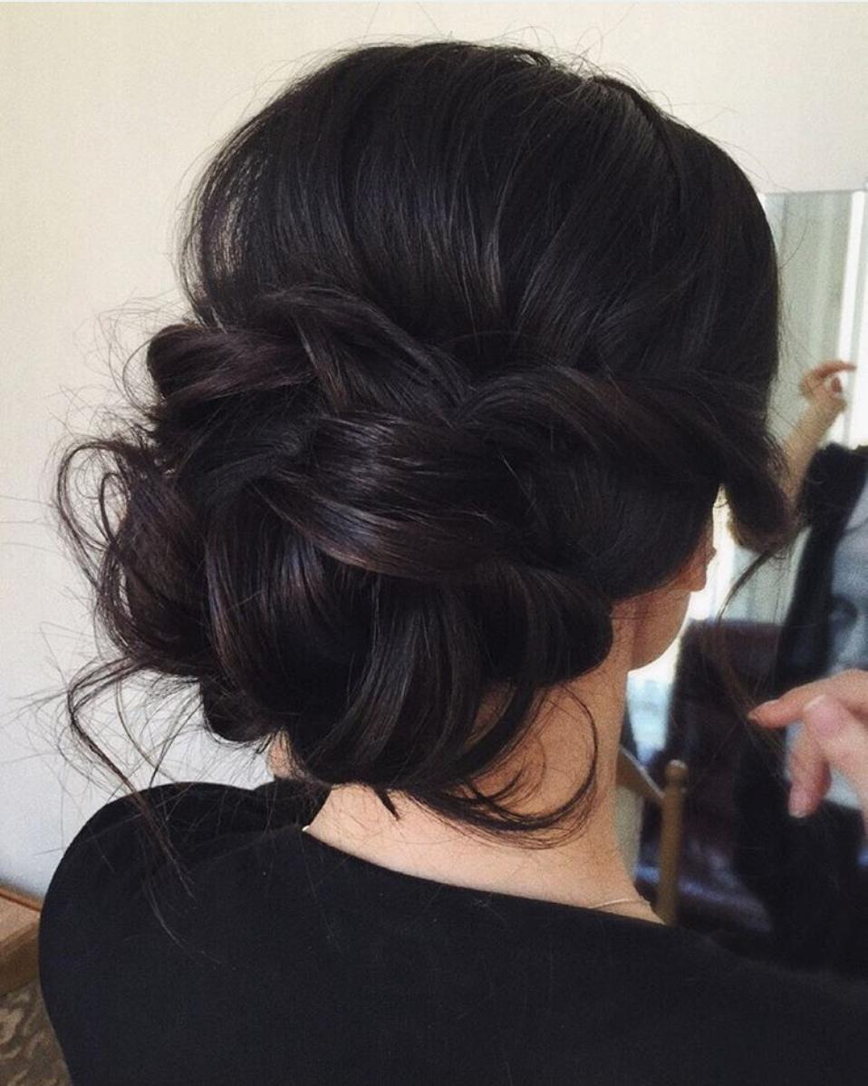 messy bridal updo, dark hair   hairstyles in 2019   long