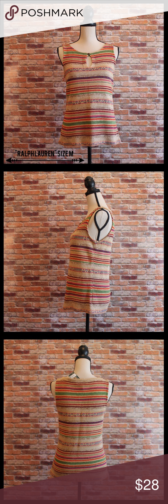 """NWT Lauren by Ralph Lauren Linen/Silk Sweater Tank NWT Lauren by Ralph Lauren sweater tank in a size medium.  Keyhole with button in front.  Beautiful colored stripes.  Measures 18"""" from armpit to armpit, and 23"""" in length.  91% linen, and 9% silk. Lauren Ralph Lauren Tops Tank Tops"""