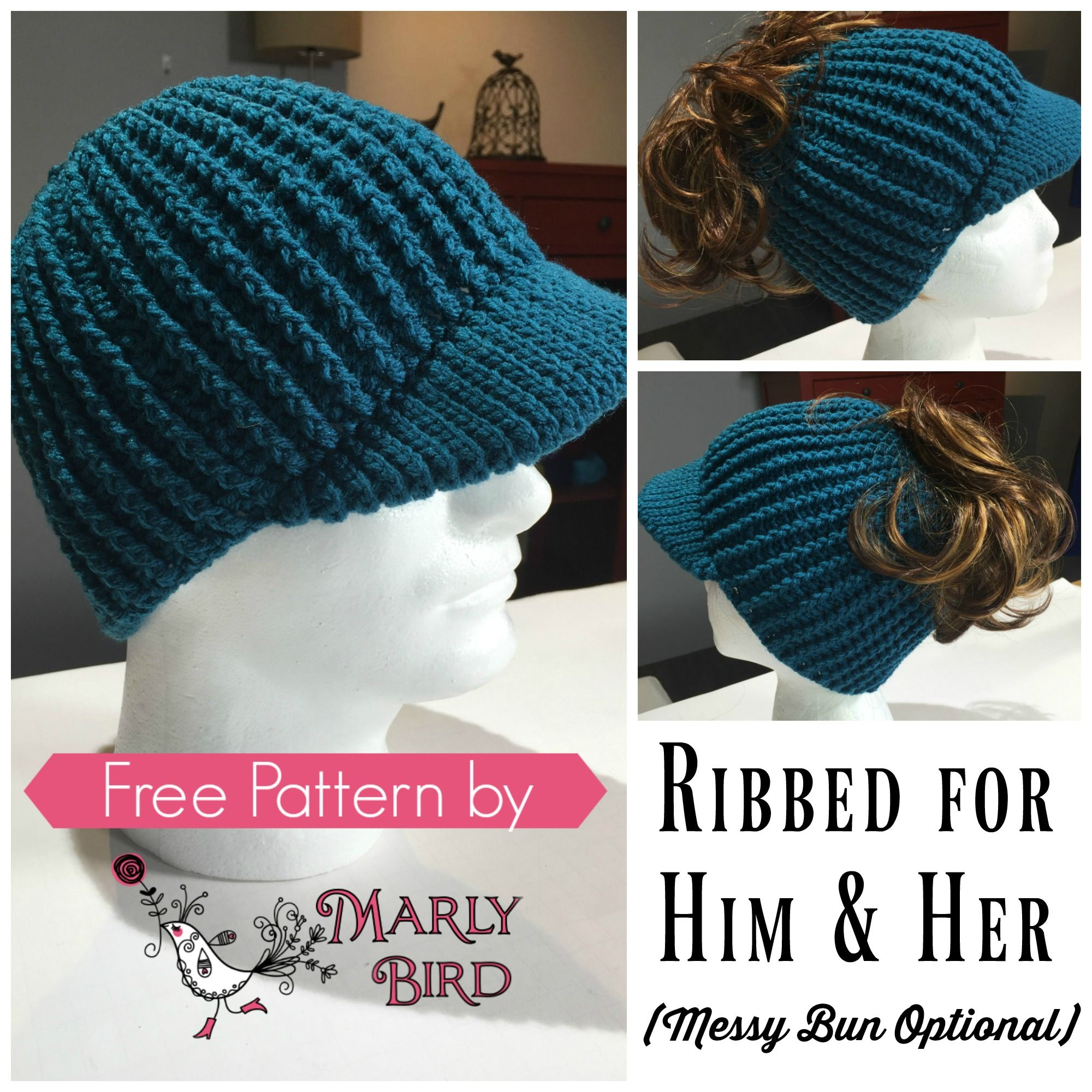 Messy Bun Hat with Brim. Can also be made into a completed hat ...