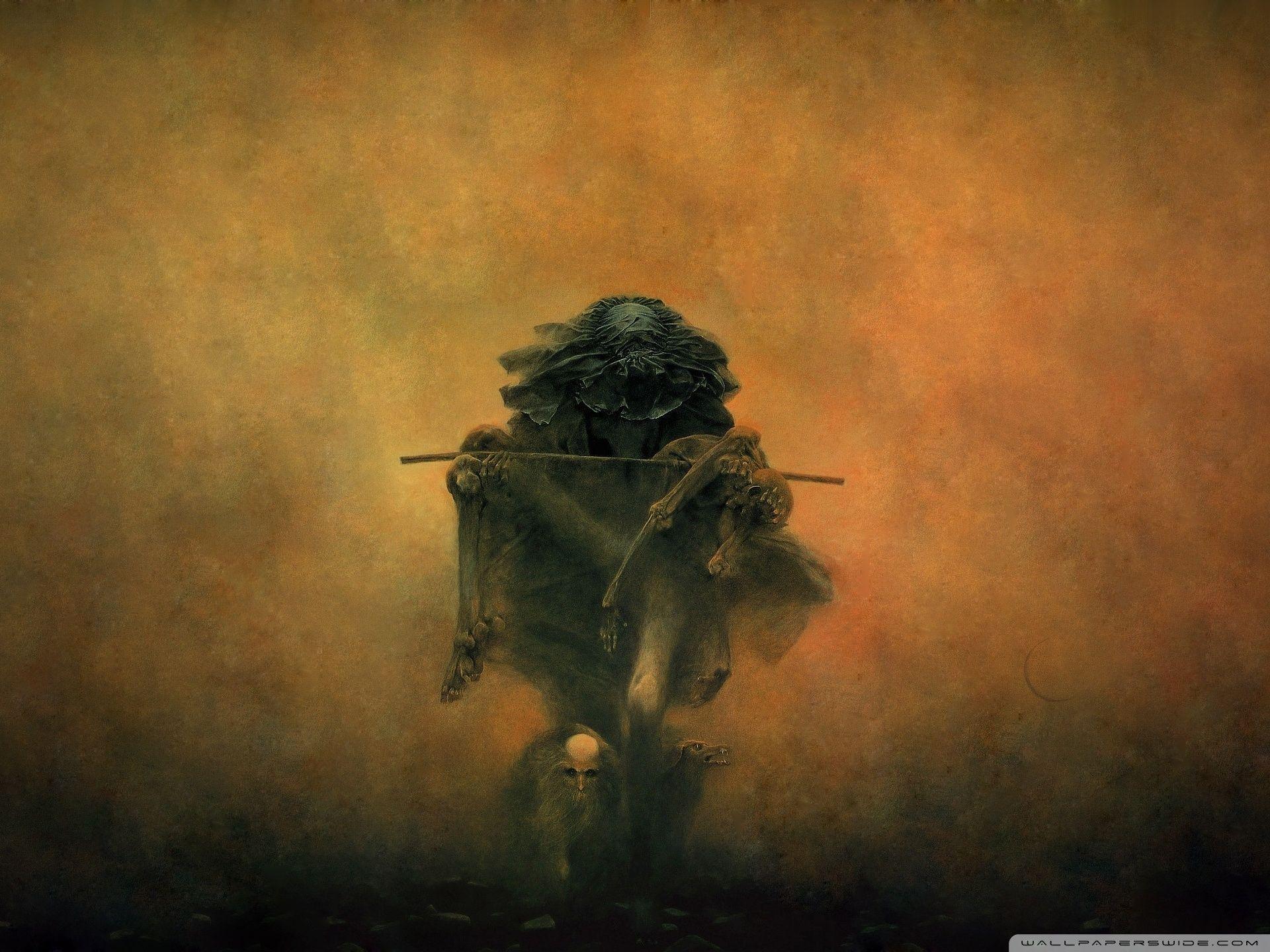 Zdzislaw Beksinski Burden Hd Desktop Wallpaper Widescreen High Painting Art Fantasy Art